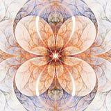 Abstract symmetrisch bloemenornament op witte achtergrond Stock Foto