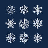 Abstract symmetry winter snowflakes Stock Photo