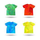 Abstract t-shirts in origami style. Abstract clothes in origami style Stock Image