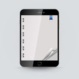 Abstract tablet screen empty curled notepad page v Royalty Free Stock Image