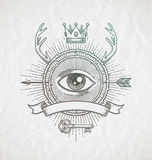 Abstract tattoo style line art emblem. With heraldic elements and undercover symbols Stock Photo
