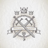 Abstract tattoo style line art emblem. With heraldic and knightly elements Royalty Free Stock Image