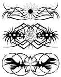 Abstract tattoos with flower. Image representing a set of floral tattoos in black and white Stock Images