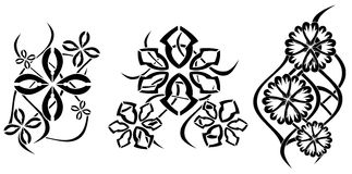 Abstract tattoos with flowers Royalty Free Stock Images