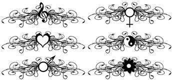 Abstract tattoos set in black isolated Royalty Free Stock Image