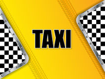 Abstract taxi advertising background with tire tread and metalli Royalty Free Stock Images