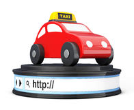 Abstract Taxi Car over Browser Address Bar as Round Platform Ped. Estal on a white background. 3d Rendering Stock Images
