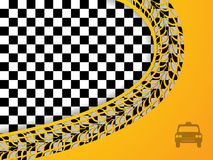 Abstract taxi design with checkered background Royalty Free Stock Images