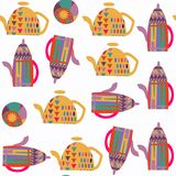 Abstract tea pot seamless pattern. It is located in swatch menu,. Vector  image. Colorful background for beautiful design Royalty Free Stock Images