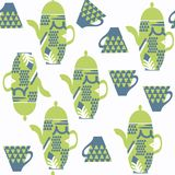 Abstract tea pot seamless vector pattern. It is located in swatc Royalty Free Stock Photos