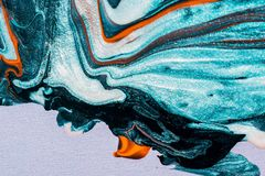 Abstract of teal coloured painting. Ink, paint, abstract. Closeup of the painting. Colorful abstract painting background. Highly-textured oil paint royalty free stock photo