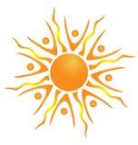 Abstract teamwork sun logo Royalty Free Stock Image