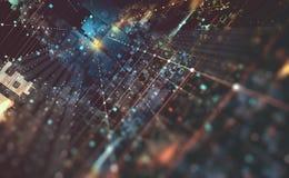 Abstract tech background 3D illustration. Quantum computer architecture. Fantastic night city. Futuristic technologies vector illustration