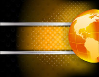 Abstract tech background with globe. Dark abstract tech background with orange globe Stock Photo