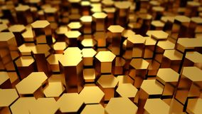 Abstract tech background with many golden hexagons Royalty Free Stock Image