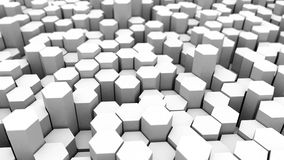Abstract tech background with many white hexagons Royalty Free Stock Images