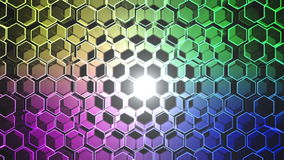 Abstract tech background with moving hexagons and light HD video stock footage