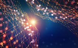 Abstract tech background. Shining star. Glowing polygon network with bokeh effect vector illustration