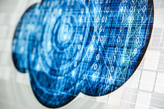 Abstract tech binary blue picture taked from perspective Stock Photos