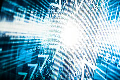 Abstract tech binary blue picture taked from perspective Stock Photography