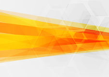 Abstract tech concept orange geometric background. Vector illustration Stock Photography