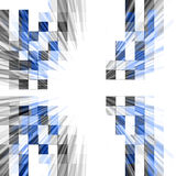 Abstract Tech Design. Mosaic pixel style cubes on white for a business technology connections burst abstract background design Stock Photos