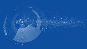 Abstract tech design background. Engineering technology wallpaper made with lines, dots, circles. Futuristic technology interface on blue background. Digital Vector Illustration
