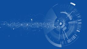 Abstract tech design background. Engineering technology wallpaper made with lines, dots, circles. Futuristic technology interface on blue background. Digital Stock Illustration