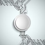 Abstract technical printed circuit board with white round sign. Vector eps 10 Stock Images