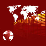 Abstract techno background. Abstract deep red techno background with a globe Royalty Free Stock Photos