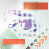 Abstract techno background with a human eye. Stock Images