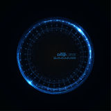 Abstract techno background. Abstract techno background with spirals and rays with glowing particles. Tech design. Lights vector frame. Glowing dots. blue Stock Photos