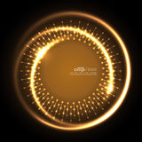 Abstract techno background. Abstract techno background with spirals and rays with glowing particles. Tech design. Lights vector frame. Glowing dots.  brown Royalty Free Stock Images