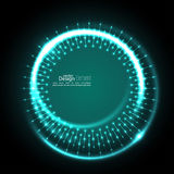 Abstract techno background. Abstract techno background with spirals and rays with glowing particles. Tech design. Lights vector frame. Glowing dots. turquoise vector illustration