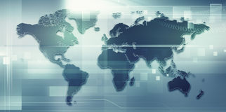Abstract techno backgrounds with Earth map Stock Photos