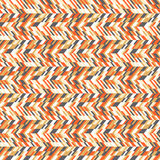 Abstract techno chevron pattern. Vector geometric seamless chevron pattern with zigzag line and overlapping stripes in bright colors. Striped bold print in stock illustration