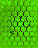 Abstract Techno Green Hive. Vector illustration of futuristic, abstract background depicting a science fiction, 3d hive circuit interface Stock Photos