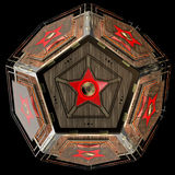 Abstract techno object. Pentagonal dodecahedron with star in center of each face. Stock Photography