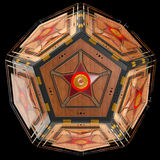Abstract techno object. Pentagonal dodecahedron with star in center of each face. Royalty Free Stock Images