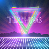 Abstract Techno 1980s Style Background with Triangles, Neon Grid Royalty Free Stock Photography