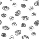 Abstract techno shapes seamless vector pattern. Stock Image