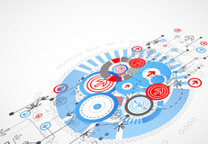 Abstract technological background with circles and arrows. Vector stock illustration