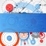 Abstract technological background with circles and arrows. Vector royalty free illustration