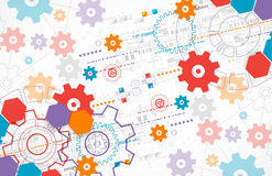 Abstract technological background with cogwheels. Royalty Free Stock Images