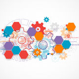 Abstract technological background with cogwheels. Royalty Free Stock Photos