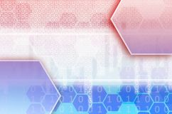 Abstract technological background consisting of a set of hexagon. S and other geometric shapes in blue and red color Royalty Free Illustration