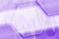 Abstract technological background consisting of a set of hexagon. S and other geometric shapes in violet color Vector Illustration