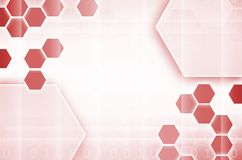 Abstract technological background consisting of a set of hexagon. S and other geometric shapes in red color Royalty Free Illustration