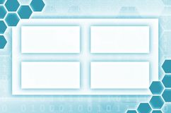 Abstract technological background consisting of a set of hexagon. S and other geometric shapes in blue color stock illustration