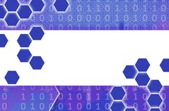 Abstract technological background consisting of a set of hexagon. S and other geometric shapes in violet color stock illustration